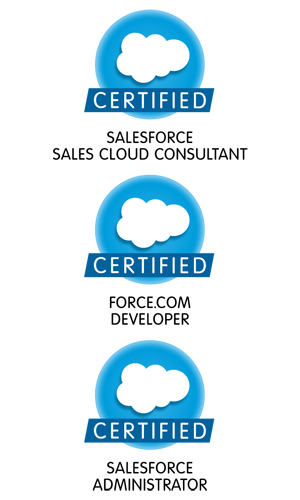 certifed saleforce sales cloud consultant, certified salesforce force.com developer and certified salesforce administrator